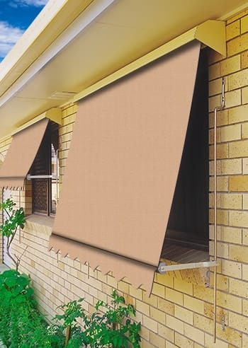 086 Toffee Docril Blockout Automatic Outdoor Awnings