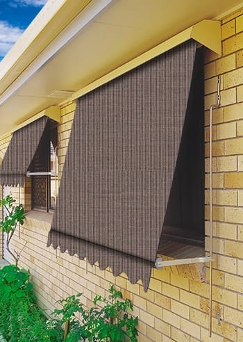 113 Brown Tweed Docril Blockout Automatic Outdoor Awnings