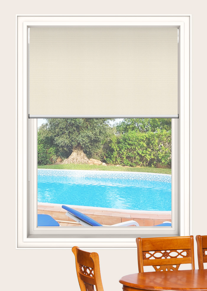 Spanish White Foundation Blockout Double Roller Blinds