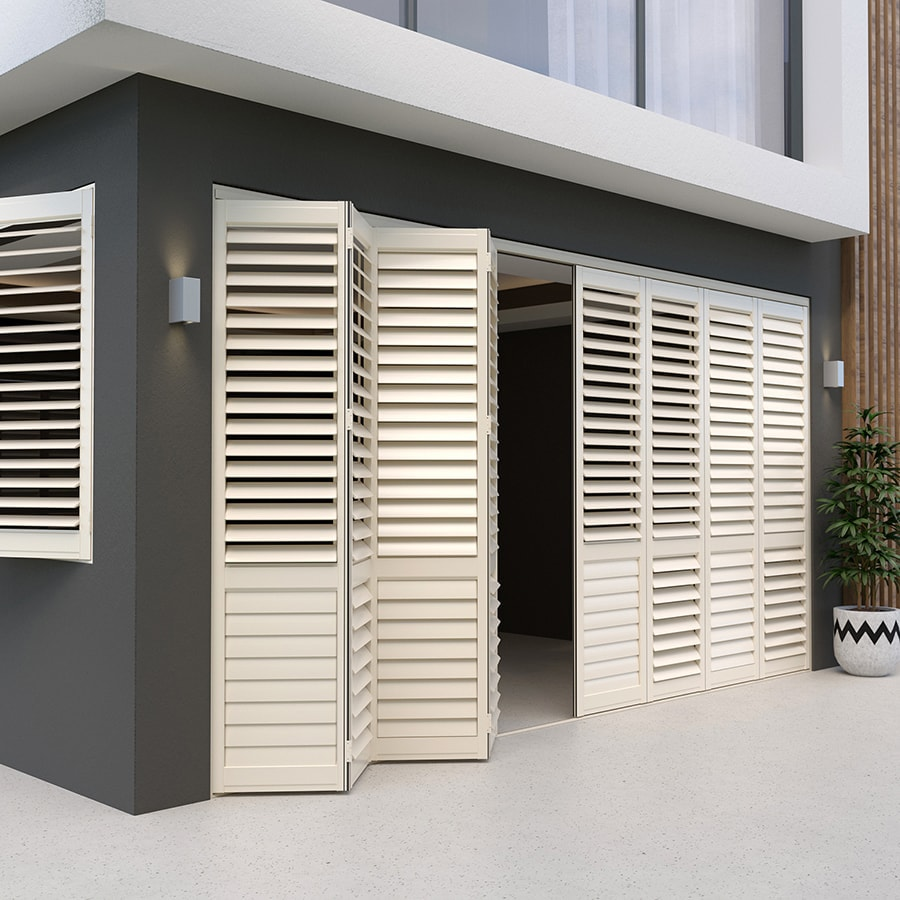 White Birch Aluminium Outdoor Shutters