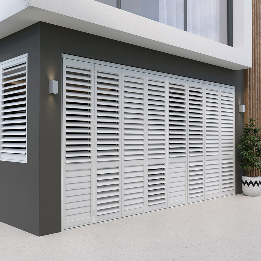 White Satin Aluminium Outdoor Shutters