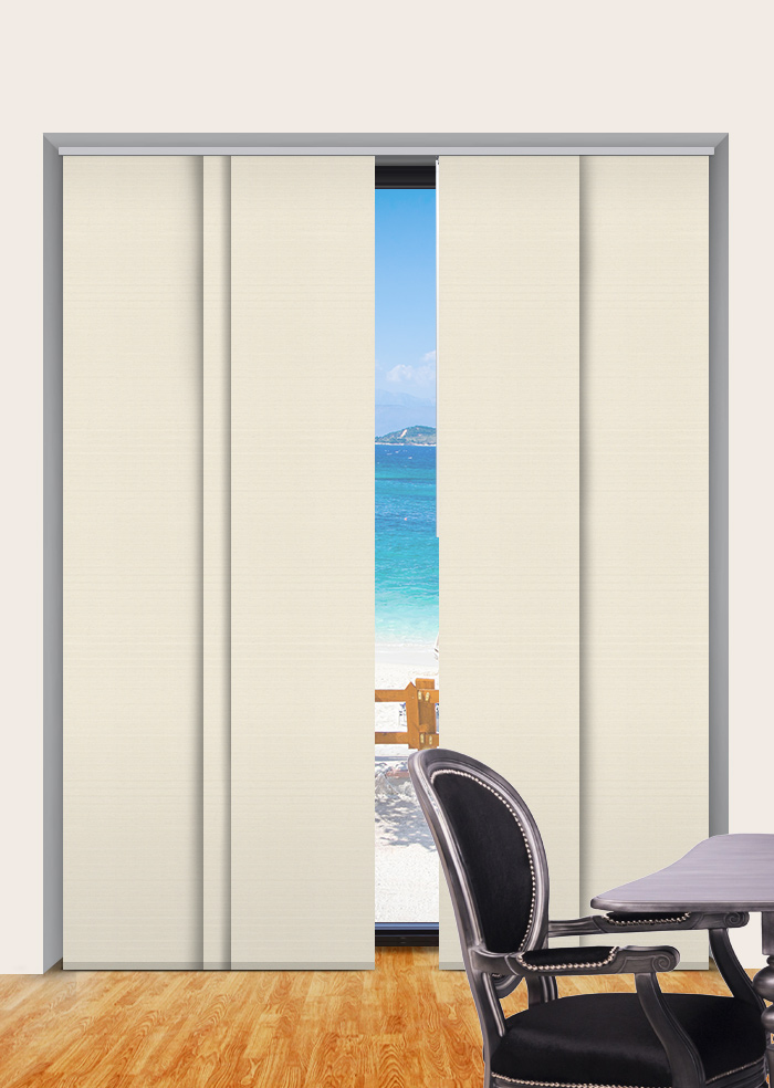 Spanish White Foundation Blockout Panel Glide Blinds