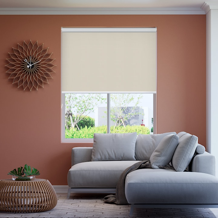 Spanish White Foundation Blockout Roller Blinds