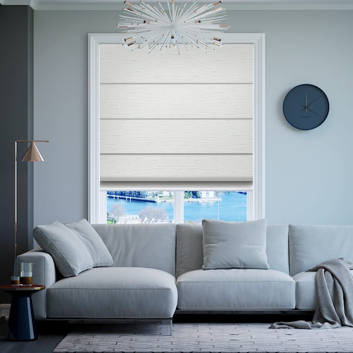 White Balmoral Blockout Roman Blinds Online Half Price Blinds
