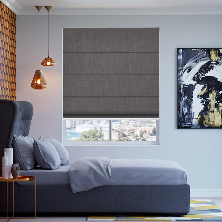 Grey Cai Blockout Roman Blinds