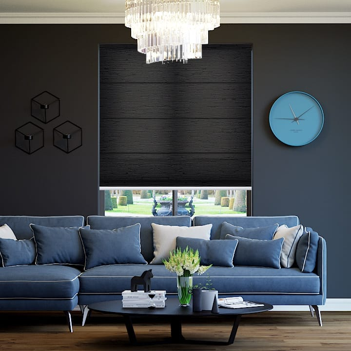 Midnight Monte Carlo Translucent Roman Blinds