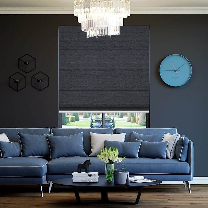 Gunmetal Quebec Blockout Roman Blinds