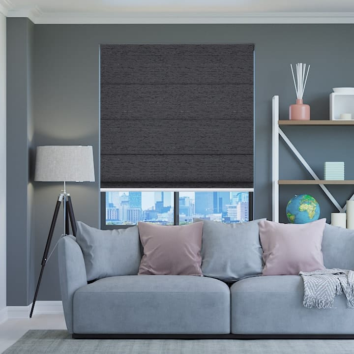 Midnight Quebec Blockout Roman Blinds