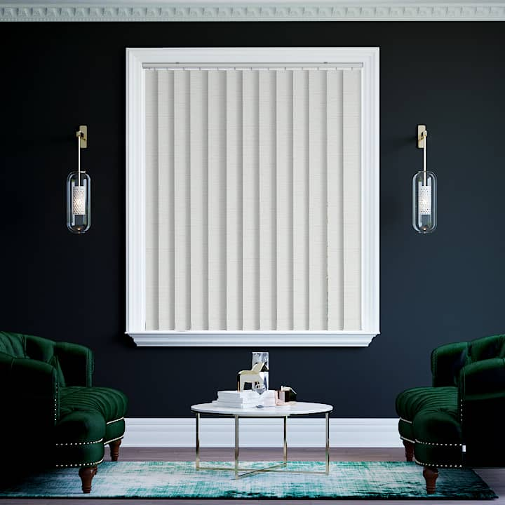 White Balmoral Blockout Vertical Blinds