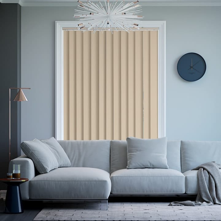 Sandstone Elite Blockout Vertical Blinds Online Half