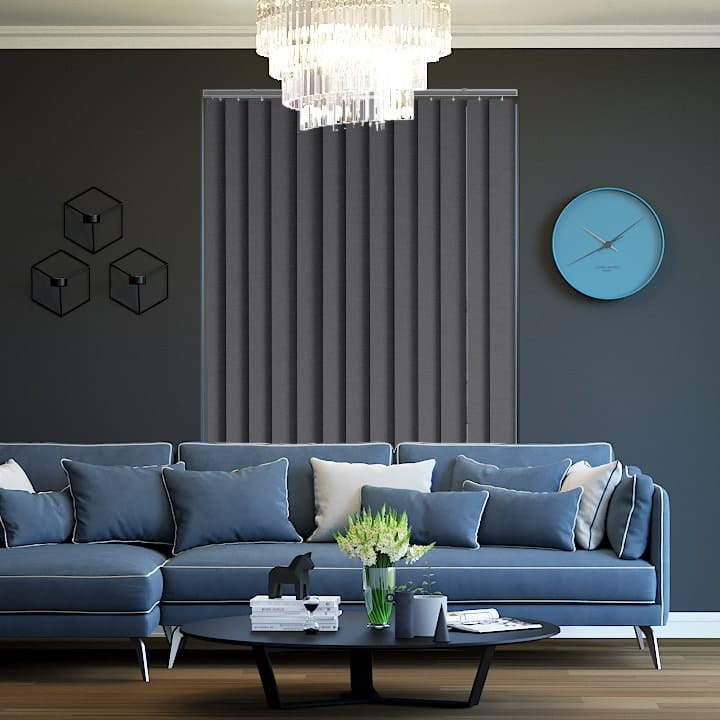 Charcoal Metallic Blockout Vertical Blinds Online Half